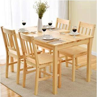 家逸 实木简约餐桌 松木一桌四椅清漆饭桌餐椅组合