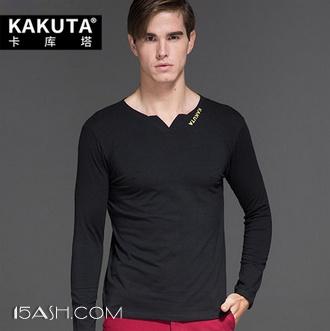 卡库塔 男士长袖T恤纯棉V领