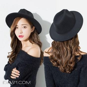 Stylebymas 韩版黑色毛呢复古小礼帽