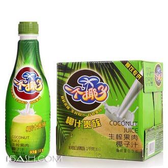 椰汁岛海南椰汁果肉椰奶饮料生榨椰子汁1L*4瓶整箱