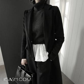 范比伦 韩版宽松直筒显瘦毛呢外套