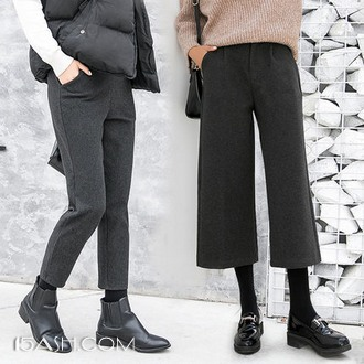 魔黛娅 女士毛呢阔腿裤