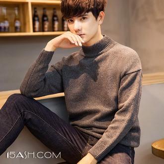 普丝纳 韩版时尚男士加厚加绒半高领毛衣