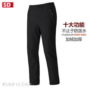 SD 情侣款 弹力修身 内里加绒 软壳冲锋裤