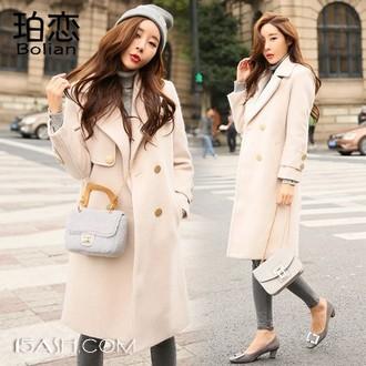 Bolian/珀恋 女士中长款加棉加厚毛呢外套