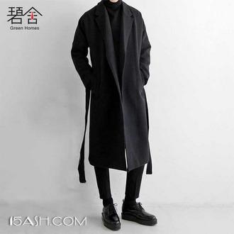 碧舍男装 青年中长款过膝呢子大衣外套