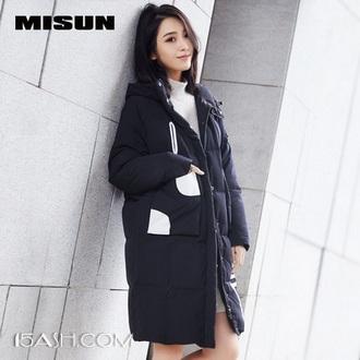 米尚 女士 oversize 茧型 中长款 羽绒服