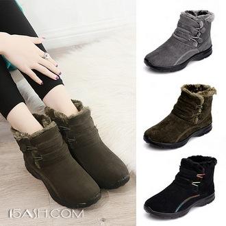 康妮琳 雪地靴女平底短筒保暖鞋