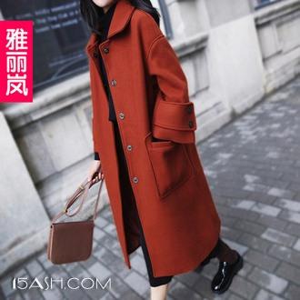 雅丽岚 大衣女中长款韩版加厚毛呢外套