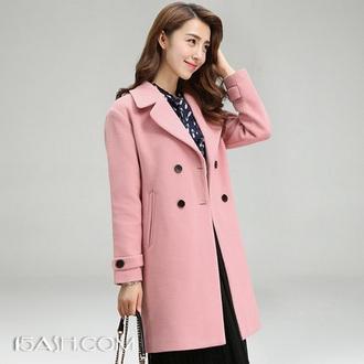 歌兔 呢子大衣女中长款韩版2017款