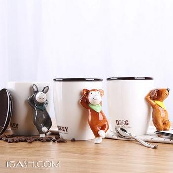 3D立体创意个性动物陶瓷马克杯带盖勺 券后12.3元包邮