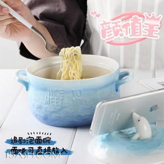 可爱泡面碗 带盖双耳陶瓷碗