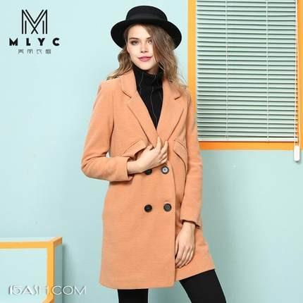美丽衣橱2017新款加厚加棉保暖中长款毛呢外套