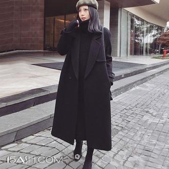 系带毛呢大衣女装韩版中长款大衣