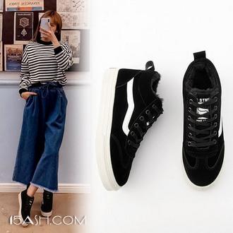 MZ 系带平底休闲板鞋女加绒运动鞋