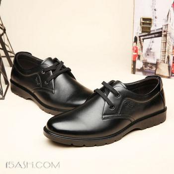 红蜻蜓 男士真皮加绒商务休闲皮鞋