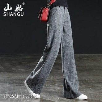 山姑 羊毛呢阔腿裤子女秋冬季高腰长裤