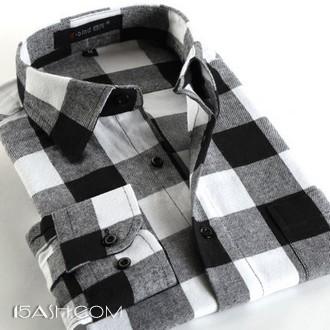 意宾 100%纯棉男格子长袖衬衫