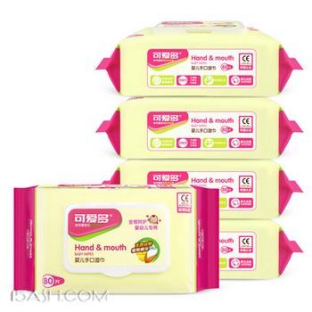 可爱多 婴儿湿巾纸 80抽*5包