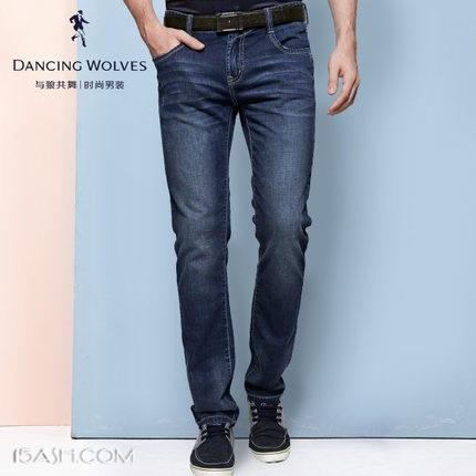 与狼共舞 新款休闲直筒纯棉牛仔裤