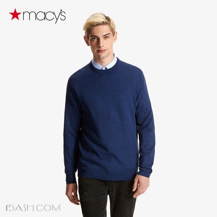 Macy's CLUBROOM 男士圆领羊毛衫