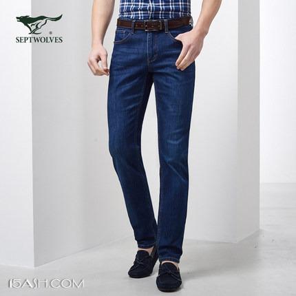 七匹狼 新款男士直筒宽松牛仔裤