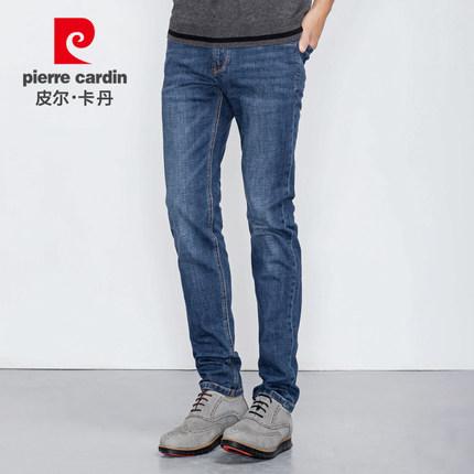 皮尔卡丹 2018春季新品直筒修身弹力牛仔裤