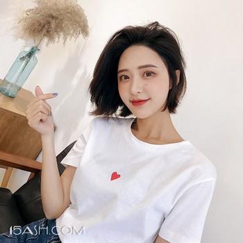 ulzzang爱心宽松纯棉纯色女短袖T恤