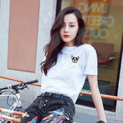 迪丽热巴同款 缤美人 女纯色小狗刺绣短袖T恤