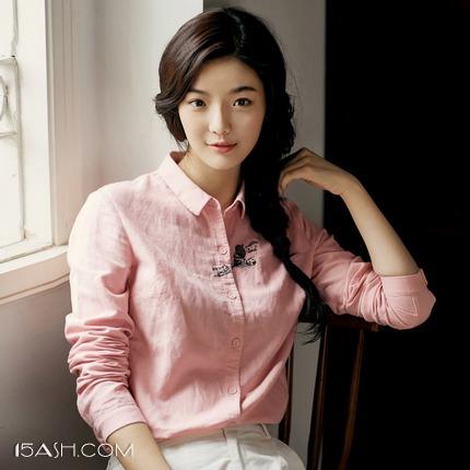 茵曼 女士刺绣长袖纯棉衬衫
