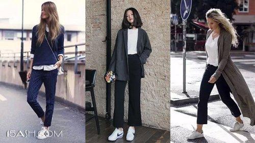 九分西裤和运动鞋的搭配也是舒适又时髦