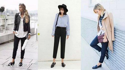 九分裤加上平底乐福鞋非常突显复古文艺时髦感