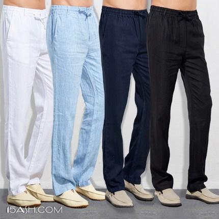 UAISI 2018春夏季男士亚麻裤宽松休闲裤