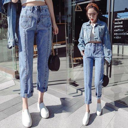 彩莱娜 女复古高腰牛仔裤阔腿九分裤