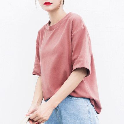 彩诺韩版纯棉短袖t恤女纯色打底衫