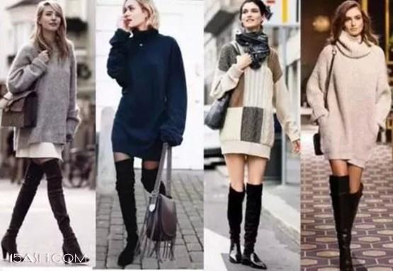 高领毛衣裙搭配长筒靴