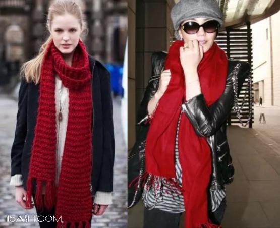 复古红围巾